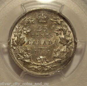 Click now to see the BUY IT NOW Price! CANADA EDWARD VII 1902 SILVER 25 CENT   PCGS MS 64