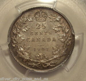 Click now to see the BUY IT NOW Price! CANADA EDWARD VII 1907 SILVER 25 CENT   PCGS MS 64