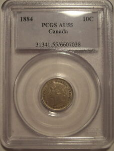 Click now to see the BUY IT NOW Price! CANADA VICTORIA 1884 KEYDATE SILVER TEN CENTS   PCGS AU 55