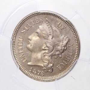 1876 THREE CENT NICKEL 3CN PCGS CERTIFIED PR66 CAM PROOF STRUCK CAMEO US COIN