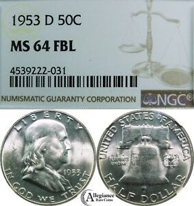 1953 D 50C FRANKLIN SILVER HALF DOLLAR NGC MS64 FBL  OLD TYPE COIN MONEY