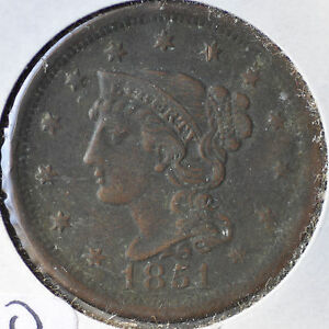1851 1C BN BRAIDED HAIR LARGE CENT BROWN COPPER LY FINE XF EF