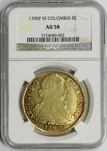 Click now to see the BUY IT NOW Price! 1790P SF COLOMBIA GOLD 8 ESCUDOS 8E AU 58 NGC
