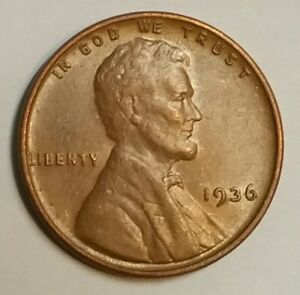 1936 P LINCOLN CENT / PENNY  AU   ABOUT UNCIRCULATED