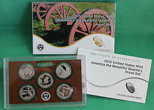 2015 US MINT AMERICA THE BEAUTIFUL QUARTERS ATB PROOF 5 COIN SET WITH BOX & COA