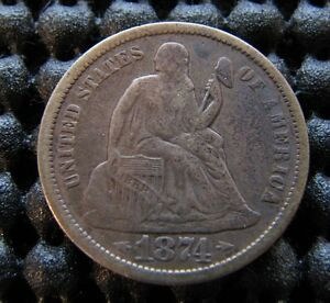 1874 S SEATED DIME