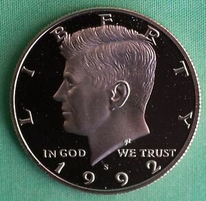 1992 S PROOF KENNEDY HALF DOLLAR COIN 50 CENTS JFK FROM US MINT PROOF SET 50C