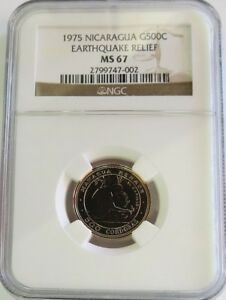 Click now to see the BUY IT NOW Price! 1975 GOLD NICARAGUA 500 CORDOBAS NGC MINT STATE 67 EARTHQUAKE RELIEF 1750 MINTED