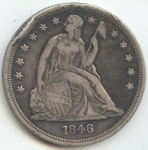 1846 SEATED LIBERTY DOLLAR XF DETAILS