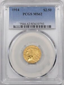 1914 $2.50 INDIAN HEAD GOLD PCGS MS 62