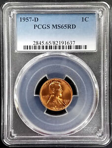 1957 D LINCOLN CENT CERTIFIED MS 65 RD BY PCGS  RICH COLOR