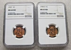 1957 LINCOLN CENT MS64 RD & 1958D MS63 RD.  NGC.  2 COIN LOT.