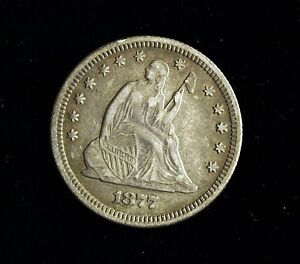 1877 P SEATED LIBERTY SILVER QUARTER  CIRCULATED