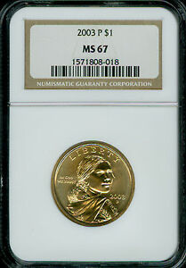 2003 P SACAGAWEA DOLLAR NGC MS 67 2ND FINEST TELEMARKETERS GOLD 10 COINS .