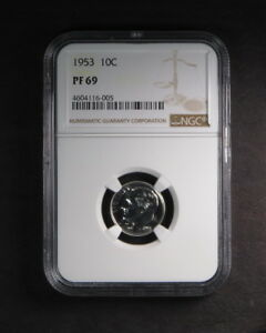 1953 10C SILVER PROOF ROOSEVELT DIME NGC PF 69