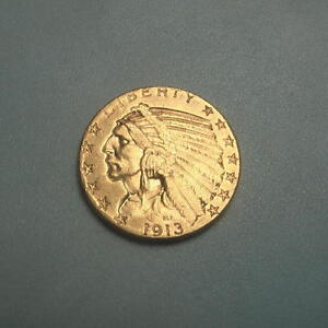 1913 S GOLD $5 INDIAN HEAD HALF EAGLE COIN   AU     173