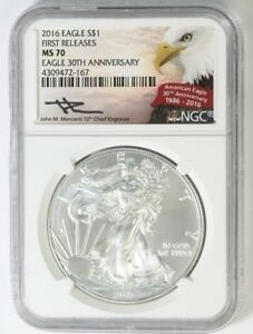2016 EAGLE S$1 FIRST RELEASE MS 70 NGC 30TH ANNIVERSARY CERTIFIED AMERICAN EAGLE