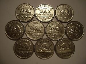 CANADA GEORGE VI 1947 FIVE CENTS   LOT OF 10 COINS