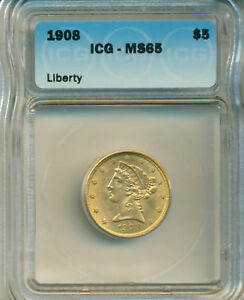 1908 $5.00 LIBERTY WITH MOTTO US GOLD COIN ICG CERTIFIED MS65 DEEP FROSTY LUSTRE