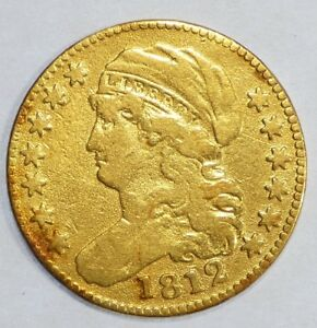 BARGAIN 1812 CAPPED BUST TO LEFT $5 GOLD HALF EAGLE COIN FINE   MINTAGE 58 087