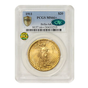 Click now to see the BUY IT NOW Price! 1911 $20 GOLD SAINT GAUDENS PCGS MS66  BELLA A&A CAC PQ