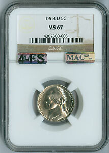 Click now to see the BUY IT NOW Price! 1968 D JEFFERSON NICKEL NGC MAC MS67 4 FS LY  SOLO FINEST GRADE .