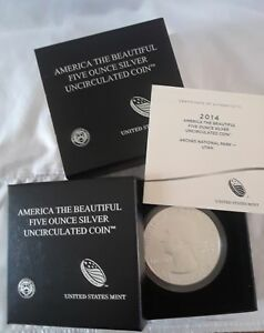 2014 FIVE OUNCE SILVER UNCIRCULATED COIN US AMERICA THE BEAUTIFUL    UTAH ARCHES
