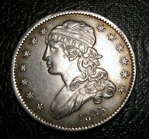 OLD US COINS 1835 CAPPED BUST QUARTER CHOICE AU/UNCIRCULATED BEAUTIFUL COIN
