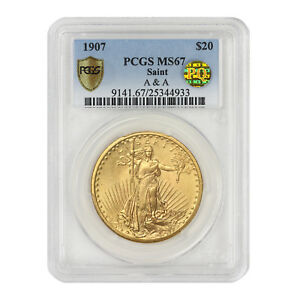 Click now to see the BUY IT NOW Price! 1907 $20 GOLD SAINT GAUDENS PCGS MS67 A&A PQ