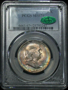 Click now to see the BUY IT NOW Price! TIED FOR FINEST 1952 S PCGS MS67  PLUS CAC SUPERB GEM COLORFUL TONED FRANKLIN