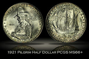 Click now to see the BUY IT NOW Price! 1921 PILGRIM TERCENTENARY COMMEMORATIVE HALF DOLLAR PCGS MS66  PLUS GREAT LUSTER