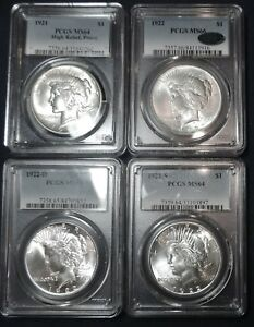 Click now to see the BUY IT NOW Price! COMPLETE SET OF BRILLIANT UNCIRCULATED PEACE DOLLARS. ALL CERTIFIED BY PCGS