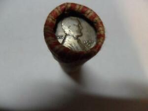 ROLL OF UNSORTED WHEAT PENNIES WITH A 1911D PENNY ON ONE END