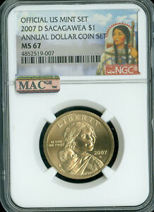 Click now to see the BUY IT NOW Price! 2007 D   2016 D SACAGAWEA ANNUAL DOLLAR SET 7 COINS NGC MAC MS 67 PL PQ POP 25