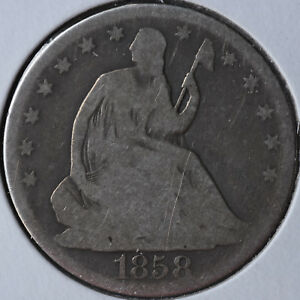 1858 O 50C LIBERTY SEATED HALF DOLLAR NEW ORLEANS TYPE COIN CIRCULATED