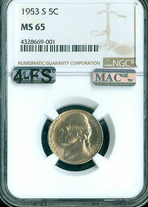 Click now to see the BUY IT NOW Price! 1953 S JEFFERSON NICKEL NGC MAC MS 65 4FS PQ LY  SPOTLESS .