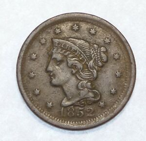 BARGAIN 1852 BRAIDED HAIR LARGE CENT EXTRA FINE 1C