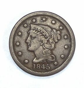 1845 BRAIDED HAIR LARGE CENT FINE 1 CENT