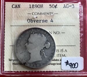 Click now to see the BUY IT NOW Price!  1890 H CANADA SILVER HALF DOLLAR 50 CENT COIN   ICCS AG 3
