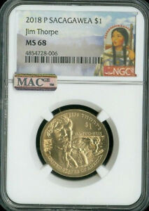Click now to see the BUY IT NOW Price! 2018 P SACAGAWEA JIM THORPE NGC MAC MS 68 PQ 2ND FINEST POP 5 SPOTLESS .