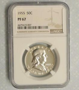 1955 NGC PROOF 67 FRANKLIN SILVER HALF DOLLAR GEM PF67 SILVER .50 CENT COIN