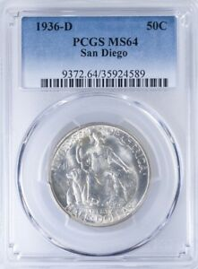1936 D COMMEMORATIVE HALF PCGS MS64 SAN DIEGO
