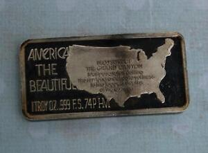 1 TROY OUNCE .999 FINE SILVER GRAND CANYON BAR AMERICA THE BEAUTIFUL 7583