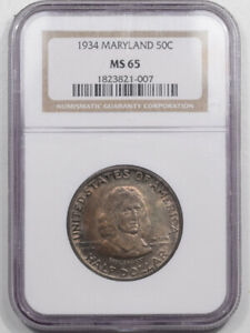 1934 MARYLAND COMMEMORATIVE HALF DOLLAR NGC MS 65