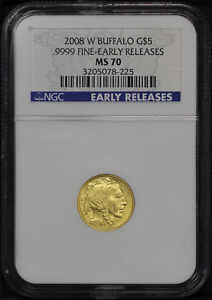 2008 W $5 BURNISHED GOLD BUFFALO 1/10 OZ NGC MS 70 EARLY RELEASE  167773