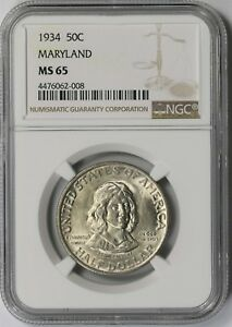 1934 MARYLAND 50C NGC MS 65 EARLY SILVER COMMEMORATIVE HALF DOLLAR