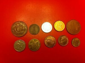WORLD COINS LOT OF COLLECTION 1 CENT 1965 1 PENNY  1065