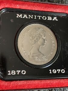 1870 1970 MANITOBA CANADA CASED COMMEMORATIVE DOLLAR IN ORIGINAL HOLDER