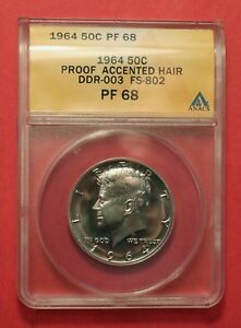 Click now to see the BUY IT NOW Price! 1964 ACCENTED HAIR KENNEDY HALF DOLLAR ANACS PF68 QDR FS 802   SUPERB COIN
