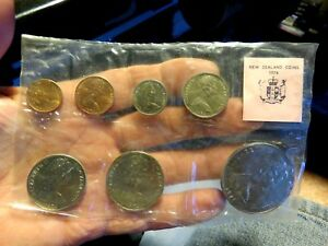 NEW ZEALAND 1974 ORDINARY UNCIRCULATED 7 COIN SET XTH BRITISH GAME SEALED SLEEVE
